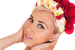 Woman face with floral rim on the head Royalty Free Stock Photos