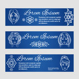 Woman face and floral web banners Stock Photos