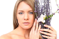 Woman face with flower Royalty Free Stock Photos