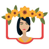 Woman face with flowers Stock Photo