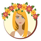 Woman face with flowers Stock Image