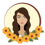 Woman face with flowers Royalty Free Stock Photos