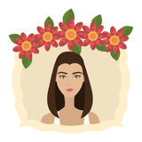 Woman face with flowers Stock Images