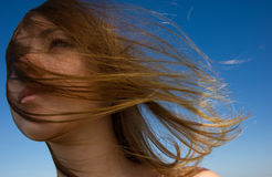 Woman face  a flowing hair Stock Image