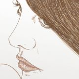 Woman face in foreground with green eyes. Comic vector illustration