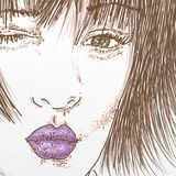 Woman face in foreground with green eyes. Comic stock illustration