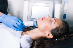 Woman face fractional treatment Royalty Free Stock Images