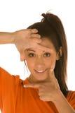 Woman face framing Royalty Free Stock Image