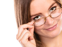 Woman face in glasses isolated Stock Photo