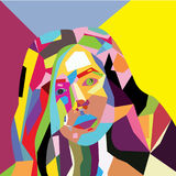 Woman face, grunge design, Stock Photos