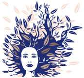 Woman Face with Hair made of Leaves Vector Illustration Stock Photo