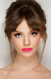 Woman face with hair motion pink lipstick, smile Royalty Free Stock Images