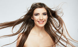 Woman face with hair motion on white background Royalty Free Stock Photo