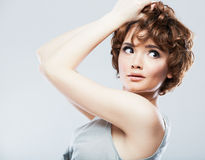 Woman face with hair style Royalty Free Stock Photos