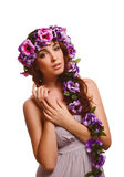 Woman face head close-up beauty, wreath flowers Royalty Free Stock Images