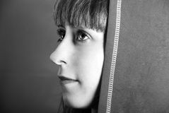 Woman face in hood. Monochrome Stock Photo