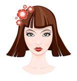 Woman face illustration. Woman face rasterized vector illustration Stock Photo