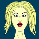 Woman face. Illustration cartoon  character Royalty Free Stock Images