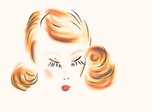 Woman face illustration Royalty Free Stock Images
