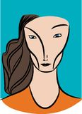 Surrealist woman face. Royalty Free Stock Images