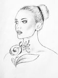 Woman face lineart sketch Royalty Free Stock Images