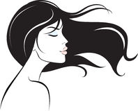 Woman face with long black hair stock illustration