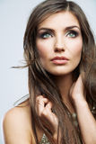 Woman face with long curly hair on white backgroun Royalty Free Stock Images