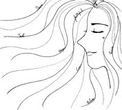 Woman face with long hairs as line art drawing black and white illustration design Royalty Free Stock Image