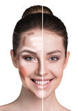Woman face before and after makeup. Royalty Free Stock Photos