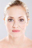 Woman face marked with lines Stock Photo