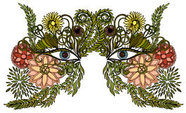 Woman face in a mask of colorful flowers Royalty Free Stock Photos