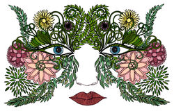 Woman face in a mask of colorful flowers Royalty Free Stock Images