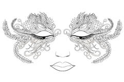 Woman face in a mask of flowers. Vector illustration. Stock Image