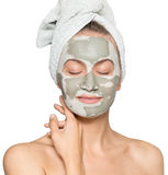 Woman with face mask. Young woman with face mask isolated on white background royalty free stock images