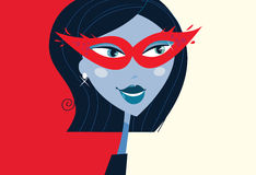 Woman face with masquerade party mask. Mystic woman with provocative masquerade mask on face. Retro stylized illustration Royalty Free Stock Photography