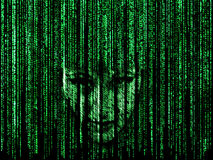 Woman face in matrix. Woman face in green matrix background, computer codeed with symbols and characters Royalty Free Stock Photography