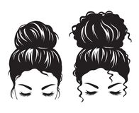 Woman face with messy hair bun silhouette