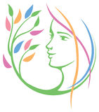 Woman Face Nature Logo Royalty Free Stock Image