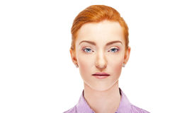 Woman face over white background red hair Stock Image