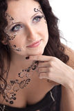 Woman face with paint close-up portrait Royalty Free Stock Image