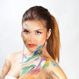 Woman face painted. Royalty Free Stock Photos