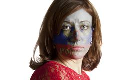 Woman face with painted Flag of the Russian Federation. Isolated on white background royalty free stock photos