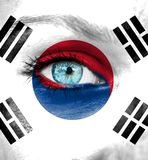 Woman face painted with flag of South Korea royalty free stock photo