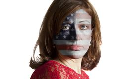 Woman face with painted USA flag. Isolated on a white background royalty free stock images