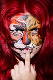 Woman with face painting Stock Photos