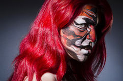 Woman with face painting Royalty Free Stock Photo