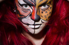 Woman with face painting Stock Images
