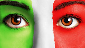Woman face painting italian flag royalty free stock images