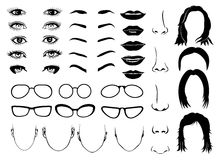 Woman face parts, eye, glasses, lips and hair. Vector female portrait set Stock Image