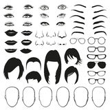 Woman face parts, eye, glasses, lips and hair. Vector set Royalty Free Stock Images